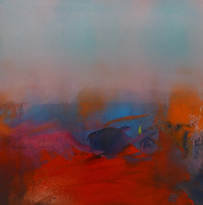 abstract, red and blue, pale pink and gestural forms