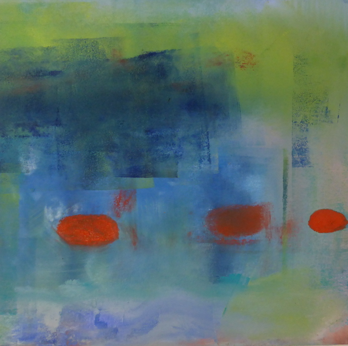 green and blue, pond reflection, abstract