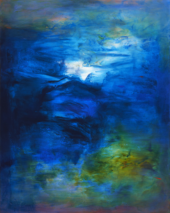 blue fluid abstract painting