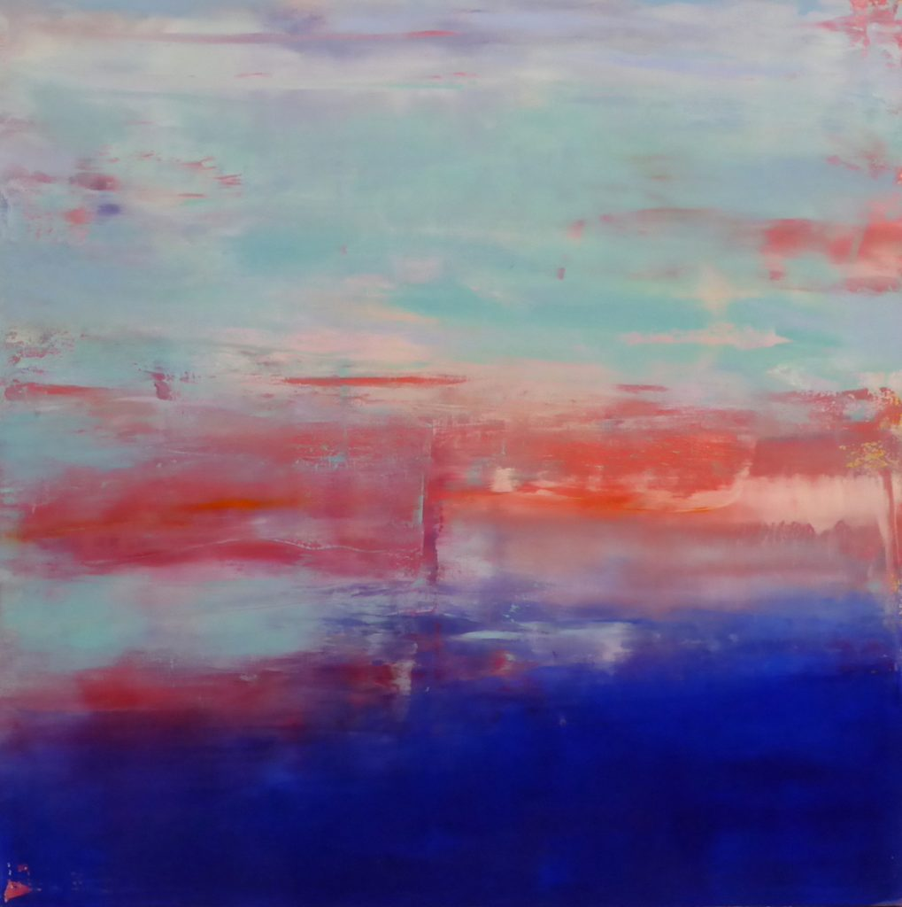 ultramarine blue and fluid teal, cadmium red and mauve