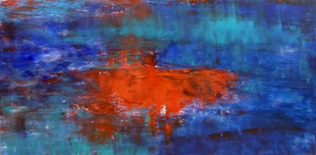ultramarine blue, cadmium red, fluid alkyd and oil