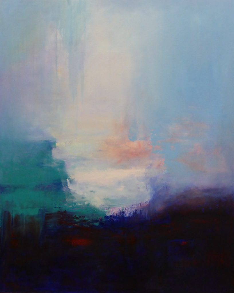 abstract, deep blue and turquoise, green and pale blue