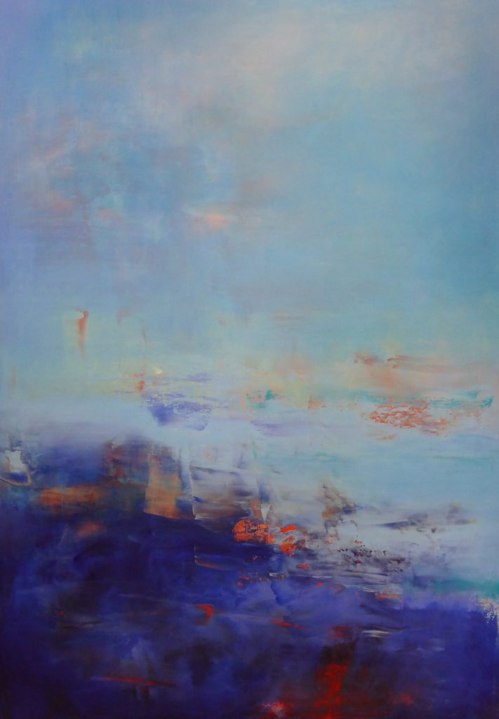 abstract, deep blue and light blue, fluid forms