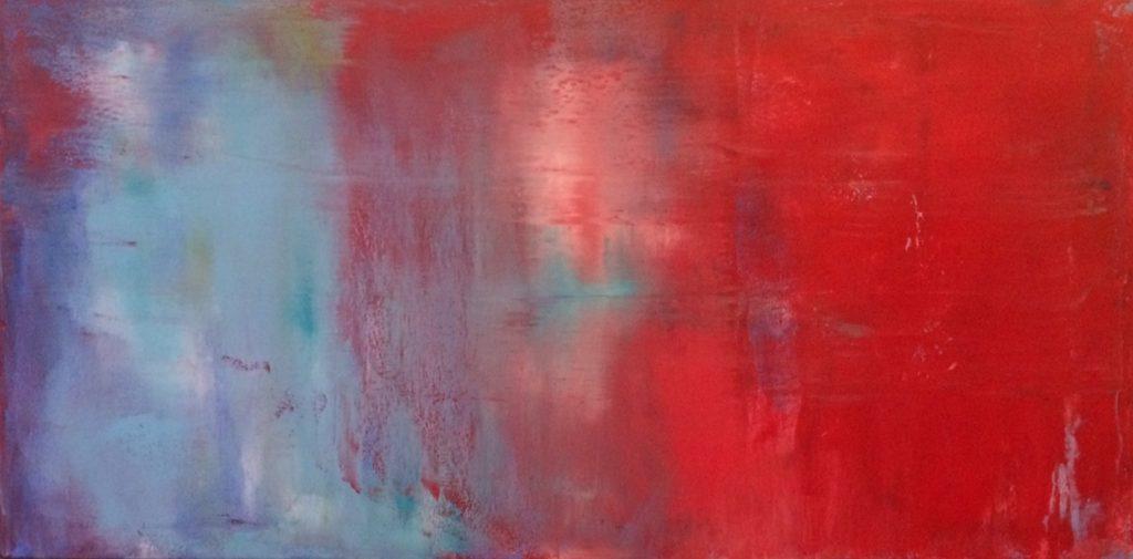 schvenigen red and gray blue, cold wax