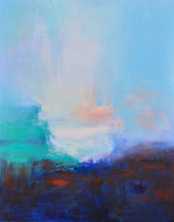 high arctic,blue, turquoise, pink, red, abstract, atmospheric