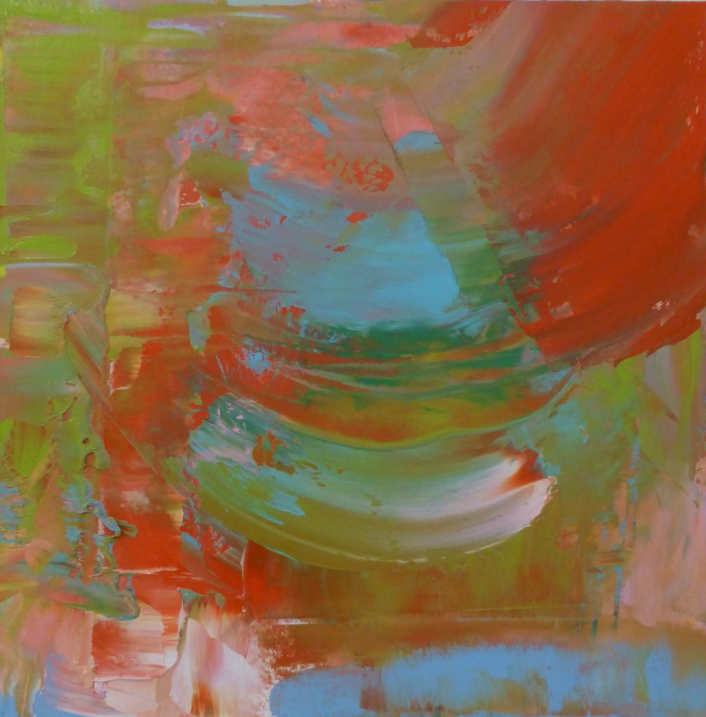 abstract, red and green and blue, gestural forms