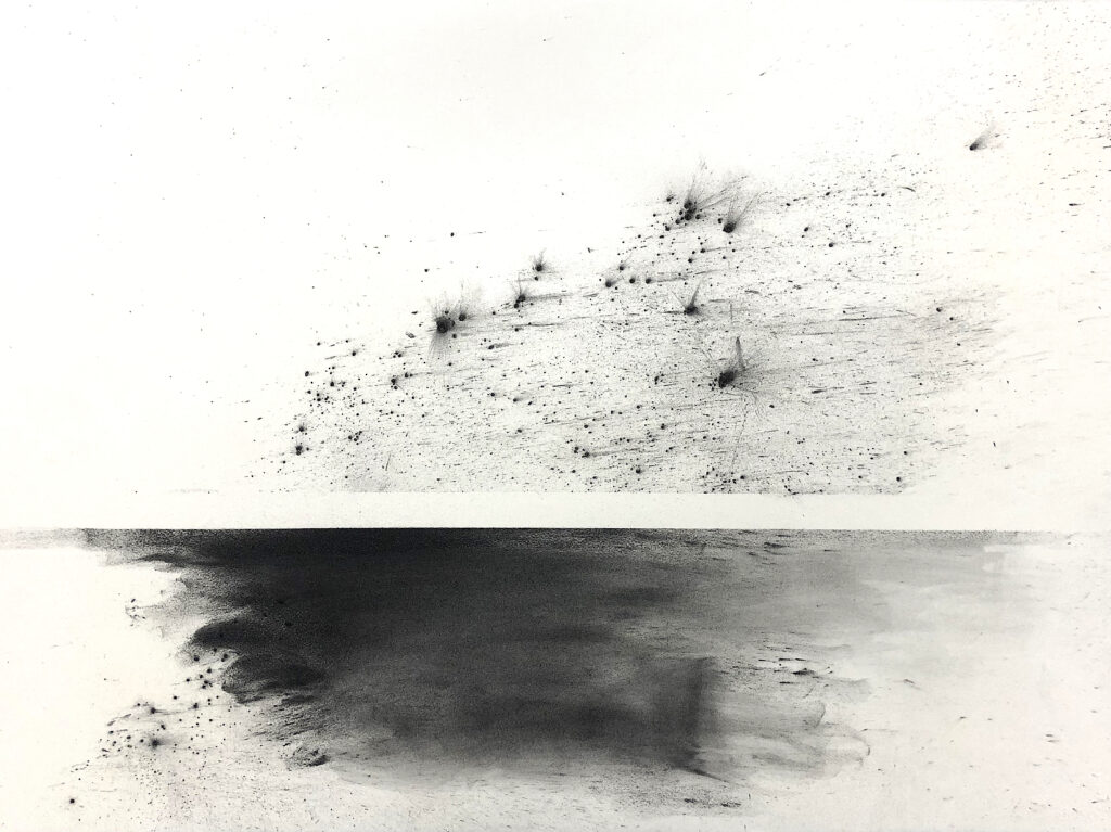 black and white, drawing, charcoal, high arctic, horizon