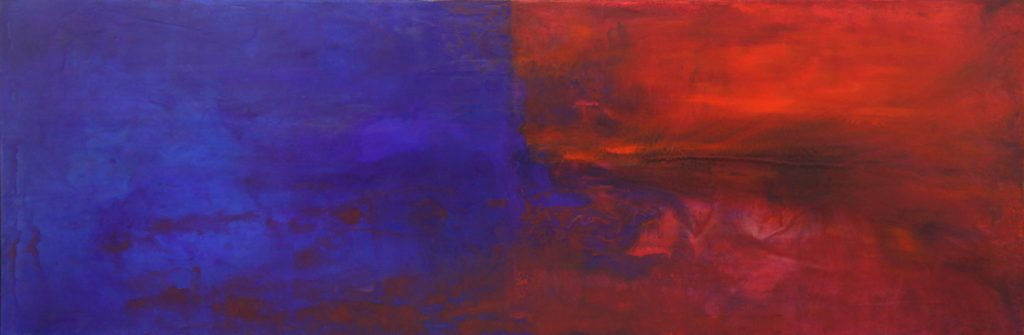 abstract, red and blue, gestural forms