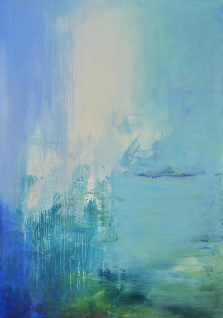 soft blue, drips, abstract, fluid abstraction, atmospheric, cobalt, ultramarine