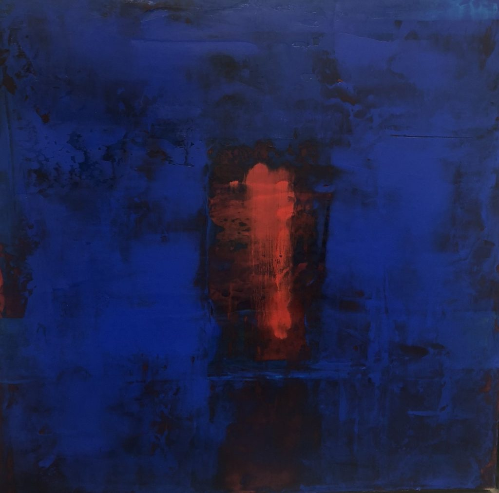 abstract, cobalt and ultramarine blue, red rectangle
