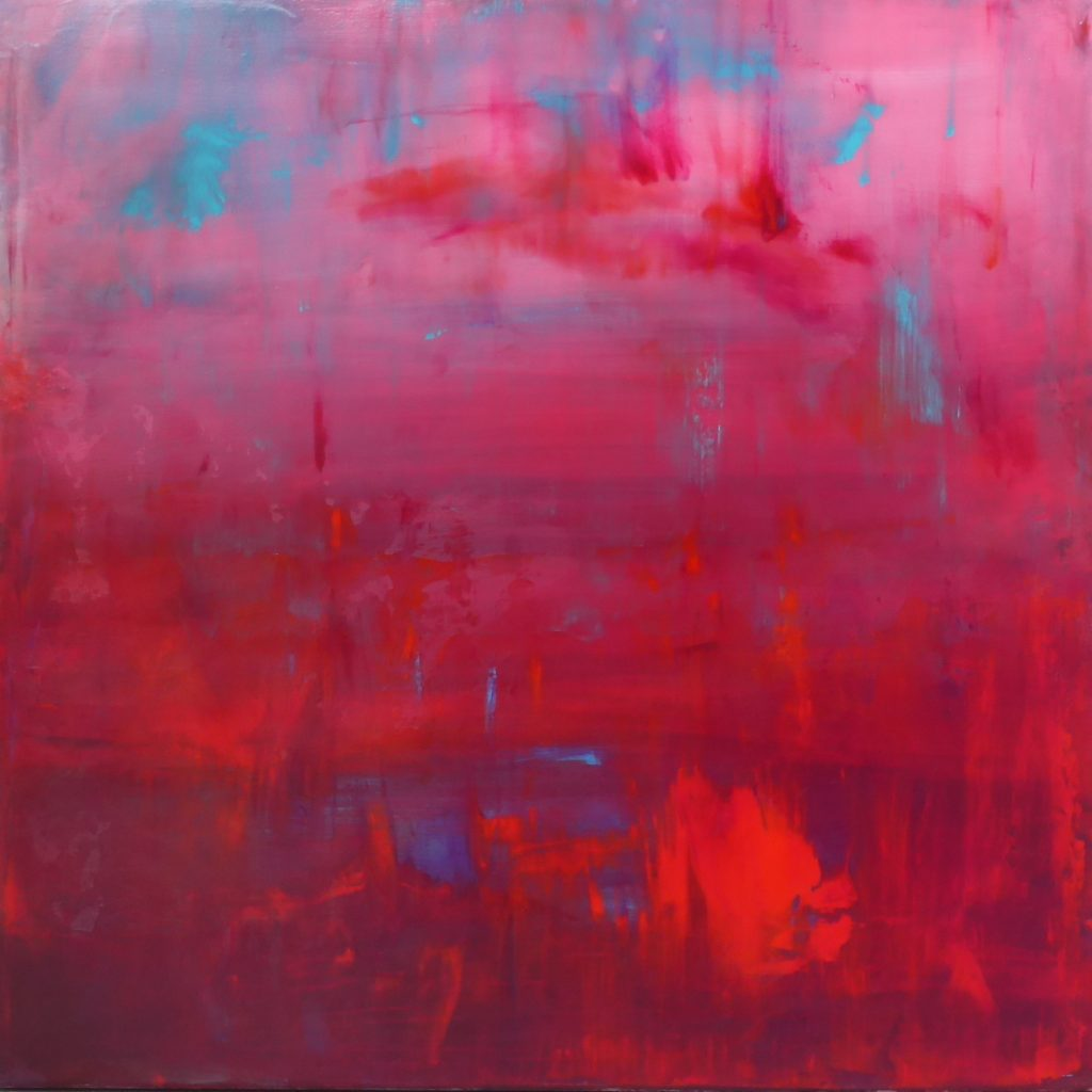 fluid red and pink, abstract painting
