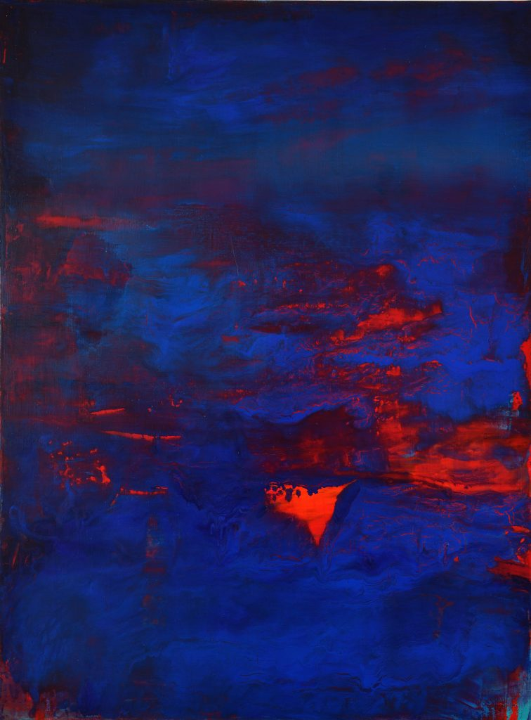 abstract deep blue with red underpainting